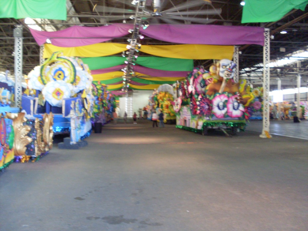 Inside the warehouse at Mardis Gras World.